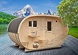 FinnTherm Saunahaus Oval inkl. Holz-Ofen (18 kW) | Premium-Thermoholz - Gartensauna Außensauna