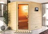 Sauna-Spar-Set: Karibu Scandic Sauna 38 mm Massiv Helsinki 3 Classic (Eckeinstieg) für niedrige Räume inkl. 3,6 KW Finnisch-Ofen ext. Strg. und Zubehör - Selbstbausatz