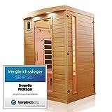 Dewello Infrarotkabine PIERSON 135x105 DUAL-THERM für 1-2 Personen aus Hemlock Holz mit Vollspektrumstrahler