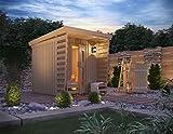 ISIDOR Premium Gartensauna Fortuna Outdoorsauna mit 4,1m² Großem Saunaraum und Großer Veranda für Ein puristisches Saunavergnügen