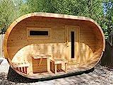 Wolff Finnhaus Ovales Saunahaus Thermoholz fertig montiert